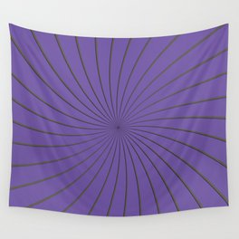 3D Purple and Gray Thin Striped Circle Pinwheel Digital Graphic Design Wall Tapestry