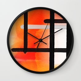 Orange Yellow Watercolor Abstract Pattern Wall Clock