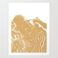 Marble suminagashi gold metallic abstract art minimal water japanese wave ocean Art Print