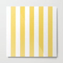 Stil de grain yellow - solid color - white vertical lines pattern Metal Print