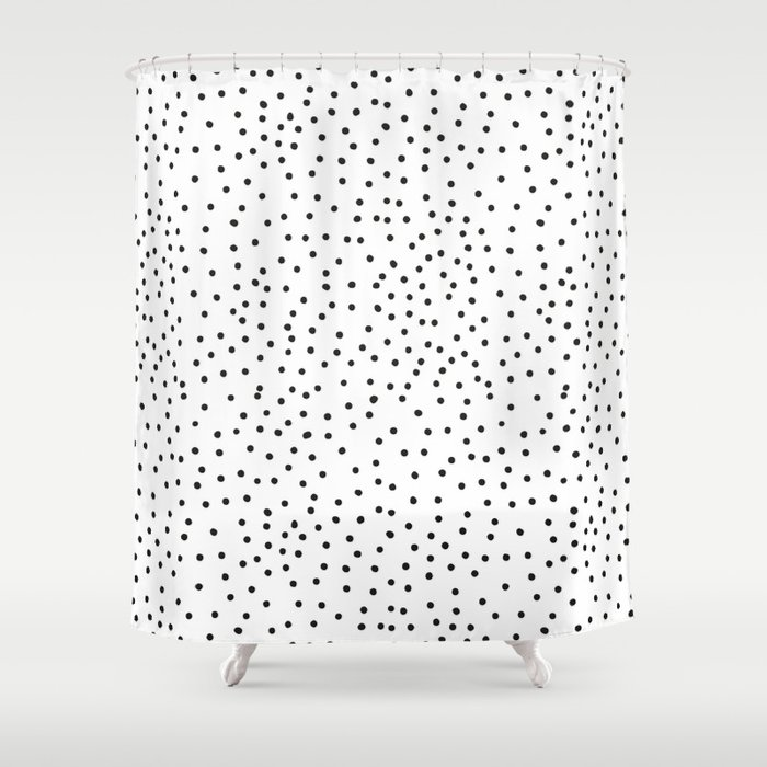BLACK DOTS Shower Curtain by kindofstyle | Society6