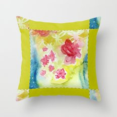 Watercolor Quilt Throw Pillow