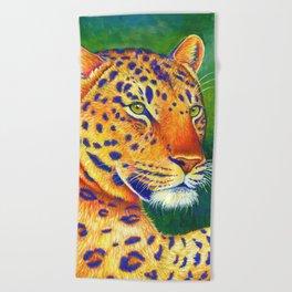 Colorful Leopard Big Cat Wild Cat Beach Towel