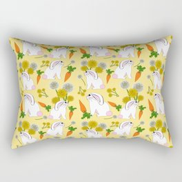Rabbit Food Bunnies Carrots Dandelions Rectangular Pillow