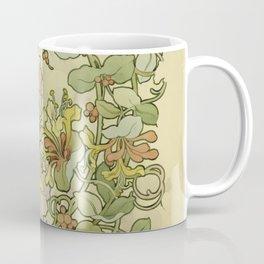 "Alphonse Mucha ""Printed textile design with hollyhocks in foreground"" Coffee Mug"
