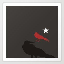 Black Bird Repeat with Star by Ron Brick Art Print
