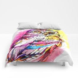 Neon Northern Pygmy Owl Comforters