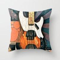 bass Throw Pillows featuring Elvis' Bass by ADH Graphic Design