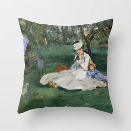 Édouard Manet - The Monet Family in Their Garden at Argenteuil (1874) Throw Pillow