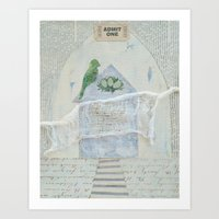 home sweet home Art Prints featuring home by messy bed studio