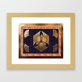 Japanese Swan Traditional Motif Framed Art Print