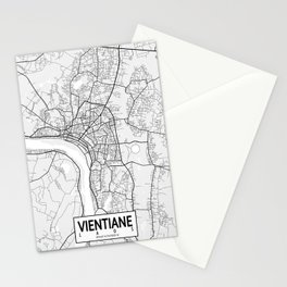 Vientiane City Map of Laos - Light Stationery Cards