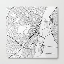 Montreal Map, Canada - Black and White Metal Print