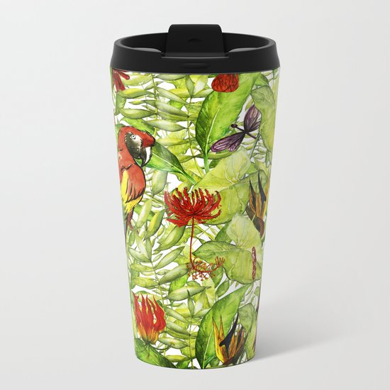 My tropical Summer Flowers and Birds Garden- Jungle Pattern on #Society6 Metal Travel Mug