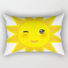 funny cartoon yellow sun smiling and winking eyes and pink cheeks, sun on white background Rectangular Pillow