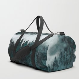 Foggy Forest Fun - Turquoise Mountains Duffle Bag