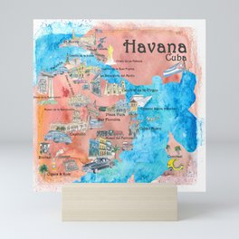 Havana Cuba Illustrated Travel Poster Favorite Sightseeing Map Mini Art Print