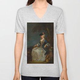 """Antoine Watteau """"Retour de Chasse: Portrait of Marie-Louise Sirois"""" Unisex V-Neck"""