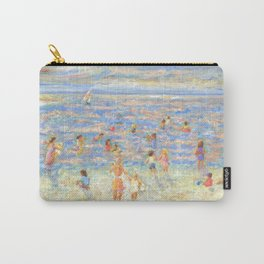 Mother and Child at the Beach: Impressionist oil painting by Pamela Parsons Carry-All Pouch