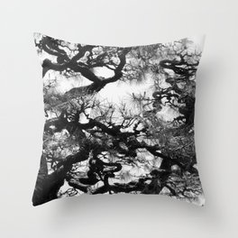 Tree of Japan (black and white edit) Throw Pillow