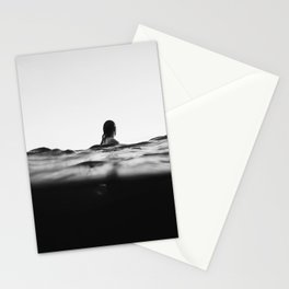 BLACK AND WHITE - OCEAN - WAVES - SEA - WATER - WOMAN Stationery Cards