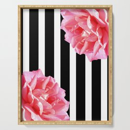 Pink roses on black and white stripes Serving Tray