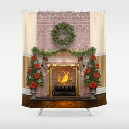 Christmas Hearth Shower Curtain