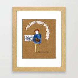 There's a bear inside your stomach Framed Art Print