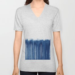 Indigo Abstract Brush Strokes | No. 5 Unisex V-Neck