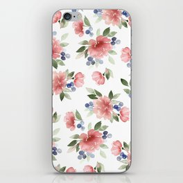 Blush Pink Watercolor Flowers iPhone Skin