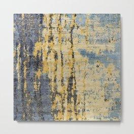 Blue Gold Oriental Rug Print Metal Print