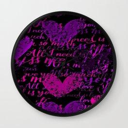 Kiss Me, Miss Me Purple Wall Clock