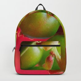 Green Berries Red Background #society6 #decor #buyart Backpack