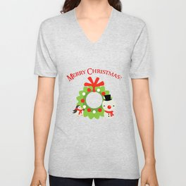 Festive Christmas Cartoons on Chevron Pattern Unisex V-Neck