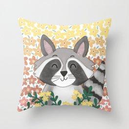 Cute Summer Raccoon Throw Pillow