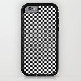 Black White Checks Minimalist iPhone Case