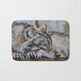 White wolf, oilpainting Bath Mat