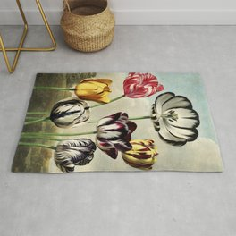 Tulips : Temple of Flora of New Illustration of the Sexual System Rug