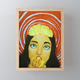 Popcorn Girl Portrait (Food for Thought) Framed Mini Art Print