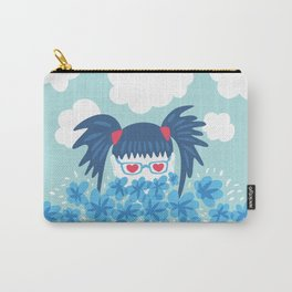 Geek Girl With Heart Shaped Eyes And Blue Flowers Carry-All Pouch