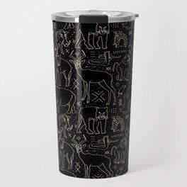 African Animal Mudcloth in Black + Bone Travel Mug