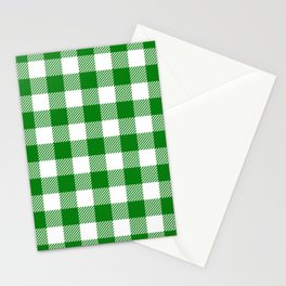 Buffalo Plaid - Green & White Stationery Cards