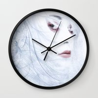 ice Wall Clocks featuring Ice by Purple Cactus