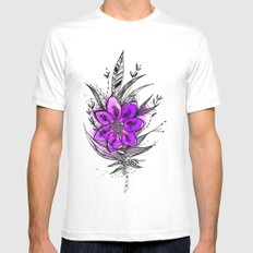 Purple Flower Feather Mens Fitted Tee White MEDIUM
