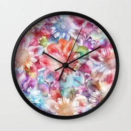 Spring Flowers on Painted Background Wall Clock