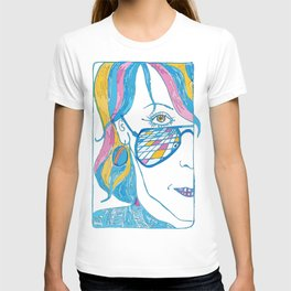 Abstract portrait of a girl with blue glasses, yellow eyes and color hair T-shirt