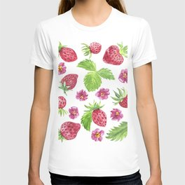 Watercolor  red strawberry. T-shirt