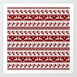 Dark Christmas Candy Apple Red Nordic Reindeer Stripe in White Art Print