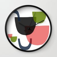 mid century Wall Clocks featuring Mid Century Shapes Greebn by Modern Day Magpie