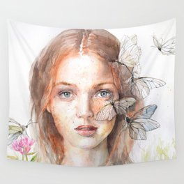 Ginger Girl and Butterflies Watercolor Red Hair Freckles Fantasy Wall Tapestry